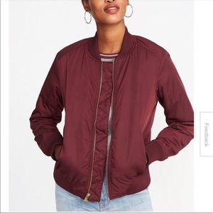 ⭐️ Burgundy Satin Bomber Jacket 🧥